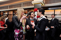 Left to right, JADE PARFITT, ZAC POSEN and ERIN O'CONNOR at a brunch hosted by Zac Posen to launch the Belvedere Bloody Mary Brunch held at Le Caprice, 25 Arlington Street, London on 7th April 2011.