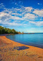 A scenic beach along the Minnesota North Shore on Lake Superior
