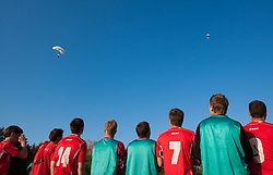 Players of Aluminij waiting for parachuters after the football match between NK Aluminij Kidricevo and NK Roltek Dob in 27th, last Round of 2nd SNL, on May 19, 2012 in Sports park Kidricevo, Slovenia. NK Aluminij defeated NK Dob 2-1, won 2nd SNL and qualified to 1st SNL. (Photo by Vid Ponikvar / Sportida.com)