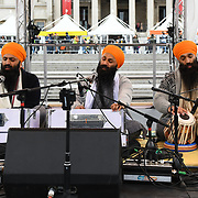 London, England, UK. 27 April 2019. Bhai Sukhjinder Singh Jatha preforms at Vaisakhi Festival is a Sikh New Year in Trafalgar Square, London, UK.