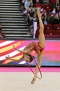 Vladinova Neviana, Bulgaria, during day one of the 33rd European Rhythmic Gymnastics at Papp Laszlo Budapest Sports Arena, Budapest, Hungary on 19 May 2017. Photo by Myriam Cawston.