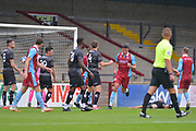 Charlie Barks (35) of Scunthorpe United celebrates his goal during the Pre-Season Friendly match between Scunthorpe United and Doncaster Rovers at Glanford Park, Scunthorpe, England on 15 August 2020.