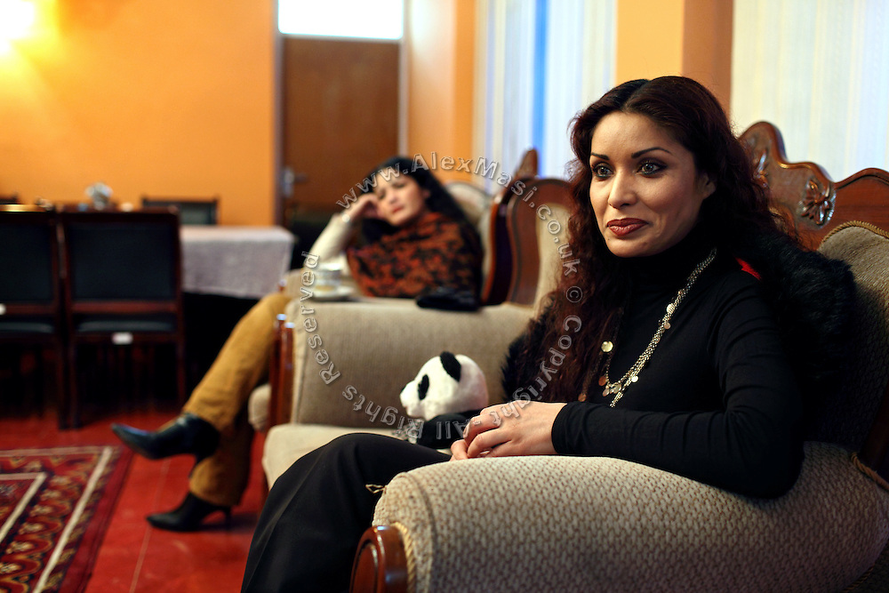 Leena Alam, 27, (right) is waiting to be interviewed on Channel 1, an Afghan national television, in Kabul, Afghanistan. Leena Alam is an American-born Afghan model, actress and filmmaker who has recently moved to Kabul to perform and promote emancipation and better rights for women in the country. She is also a UNAMA (United Nation Assistance Mission in Afghanistan) Peace Ambassador.