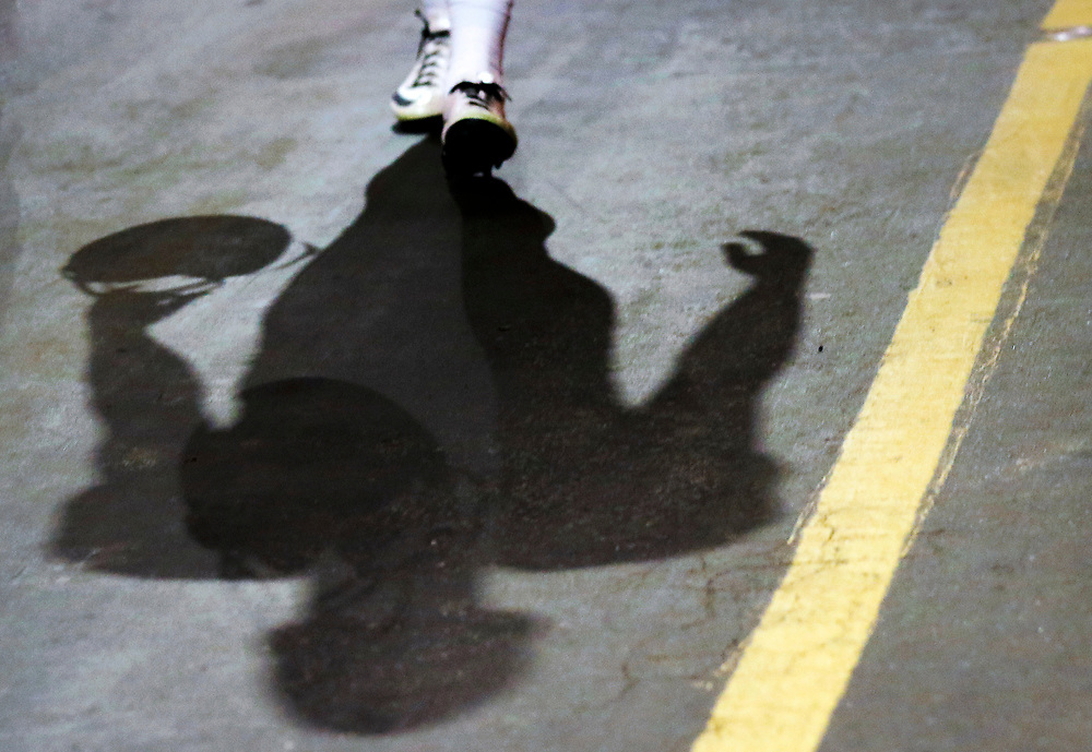 The shadow of an NFL football players is seen prior to an NFL football game between the Los Angeles Rams and the Atlanta Falcons, Sunday, Dec. 11, 2016, in Los Angeles. The Falcons defeated the Rams, 42-14. (Ryan Kang via AP)
