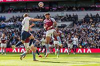 Football - 2021 / 2022 Premier League - Tottenham Hotspur vs Aston Villa - Tottenham Hotspur Stadium - Sunday 3rd October 2021<br /> <br /> Harry Kane (Tottenham Hotspur) and Tyrone Mings (Aston Villa) rise for the header <br /> <br /> COLORSPORT/DANIEL BEARHAM
