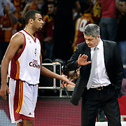 Galatasaray Cafe Crown's coach Oktay MAHMUTI (R) and Joshua Ian SHIPP (L) during their ULEB Eurocup Quarterfinals last 16 group K game 2 basketball match Galatasaray between Asefa Estudiantes at the Abdi Ipekci Arena in Istanbul at Turkey on Tuesday, January, 25, 2011. Photo by TURKPIX
