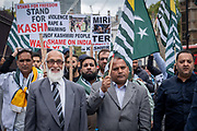 Pro Kashmir independence campaigners march past the Houses of Parliament on the 3rd September 2019 in London in the United Kingdom. Protesters gather near the statue of Mahatma Gandhi in solidarity following Indian Prime Minister Narendra Modi's Independence Day speech removing special rights of Kashmir as an autonomous region.
