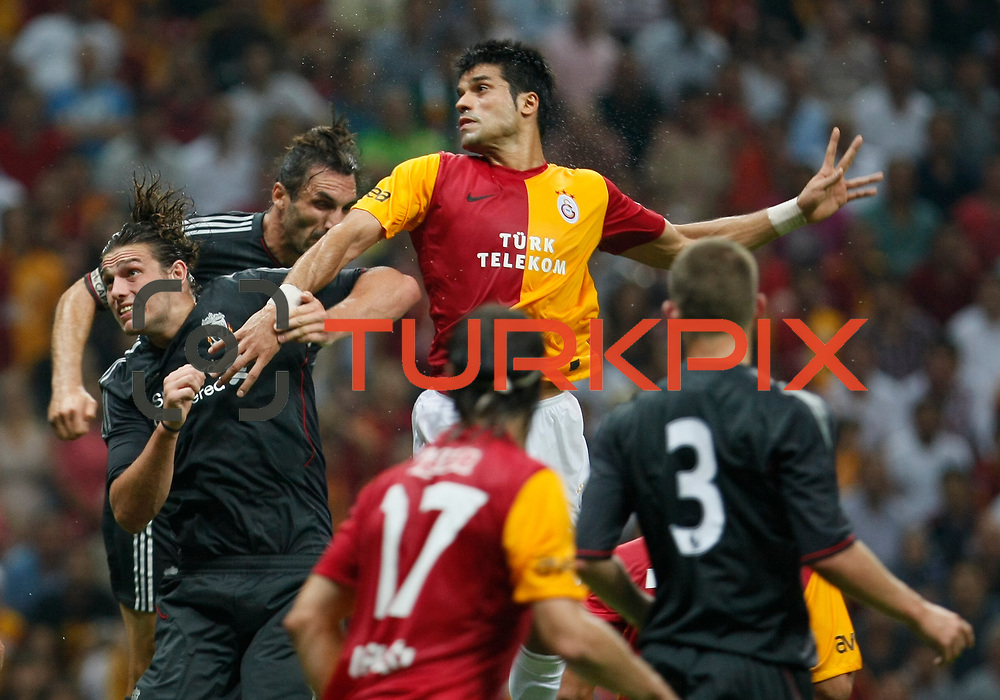 Galatasaray's Gokhan ZAN (C) during their Friendly soccer match Galatasaray between Liverpool at the TT Arena at Arslantepe in Istanbul Turkey on Saturday 28 July 2011. Photo by TURKPIX