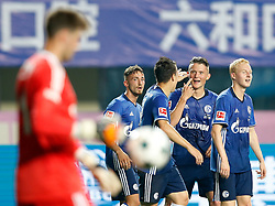 ZHUHAI, July 19, 2017 Players of FC Schalke 04 celebrate after Yevhen Konoplyanka scores during a pre-season soccer match between Bundesliga's FC Schalke 04 and Turkish Super League champion Besiktas JK at Zhuhai Sports Center Stadium in Zhuhai, south China's Guangdong Province, July 19, 2017. FC Schalke 04 won 3-2. (Credit Image: © Wang Lili/Xinhua via ZUMA Wire)