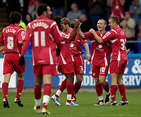 Photo: Jed Wee/Sportsbeat Images.<br /> Hartlepool United v Swindon Town. Coca Cola League 1. 15/09/2007.<br /> <br /> Swindon celebrate with goalscorer Jon Paul McGovern (2nd R).