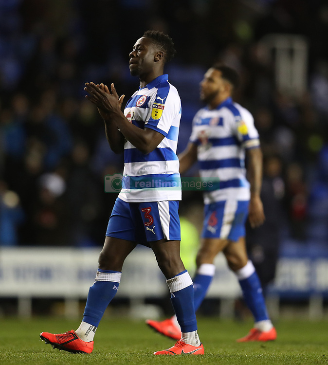 """Reading's Andy Yiadom applauds the fans after the Sky Bet Championship match at the Madejski Stadium, Reading. PRESS ASSOCIATION Photo. Picture date: Tuesday March 12, 2019. See PA story SOCCER Reading. Photo credit should read: Bradley Collyer/PA Wire. RESTRICTIONS: EDITORIAL USE ONLY No use with unauthorised audio, video, data, fixture lists, club/league logos or """"live"""" services. Online in-match use limited to 120 images, no video emulation. No use in betting, games or single club/league/player publications."""