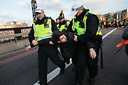 Thousands of Extinction Rebellion activists took over 5 bridges in Central London and blocked them for the day, November 17 2018, Central London, United Kingdom. Lambeth Bridge; a young activist is arrested and taken away. Around 11am people on all bridges sat down in the road and blocked traffic from coming through and stayed till late afternoon. The actvists believe that the government is not doing enough to avoid catastrophic climate change and they demand the government take radical action to save future generations and the planet. Many are willing to be arrested peacefully protesting and up to 80 were arrested on the day.Extinction Rebellion is a grass root climate change group started in 2018 and has gained a huge following of people commited to peaceful protests and who ready to be arrested. Their major concern is that the world is facing catastropohic climate change and they want the British government to act now to save future generations.