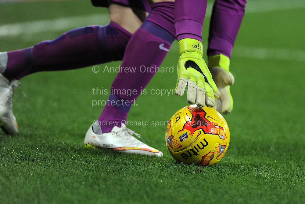 a close up view as goalkeeper David Stockdale of Brighton as he picks up the ball. Skybet football league championship match, Cardiff city v Brighton & Hove Albion at the Cardiff city Stadium in Cardiff, South Wales on Tuesday 10th Feb 2015.<br /> pic by Andrew Orchard, Andrew Orchard sports photography.