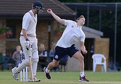 Auguy Slowik bowls - Photo mandatory by-line: Dougie Allward/JMP - Mobile: 07966 386802 - 29/07/2015 - SPORT - Cricket - Bristol - Westbury Fields - Bishopston CC v Bristol Rugby - Exhibition Game