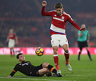 Andrew Robertson of Hull City challenges Gaston Ramirez of Middlesbrough during the English Premier League match at Riverside Stadium, Middlesbrough. Picture date: December 5th, 2016. Pic Jamie Tyerman/Sportimage