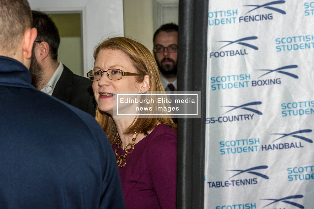 Pictured: Shirley-Anne Somerville<br /> <br /> Further and Higher Education Minister Shirley-Anne Somerville visited Edinburgh College's Granton campus to view the sport facilities and to announce a new GBP465,000 investment fund for the student sport sector.<br /> <br /> Ger Harley   EEm 8 February 2018