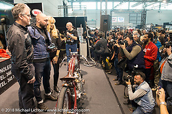 """Ray Drea and Karen Davidson of Harley-Davidson gave a special """"Willie G. Davidson Design Award"""" to Radikal Choppers Milano during Motor Bike Expo. Verona, Italy. January 23, 2016.  Photography ©2016 Michael Lichter."""