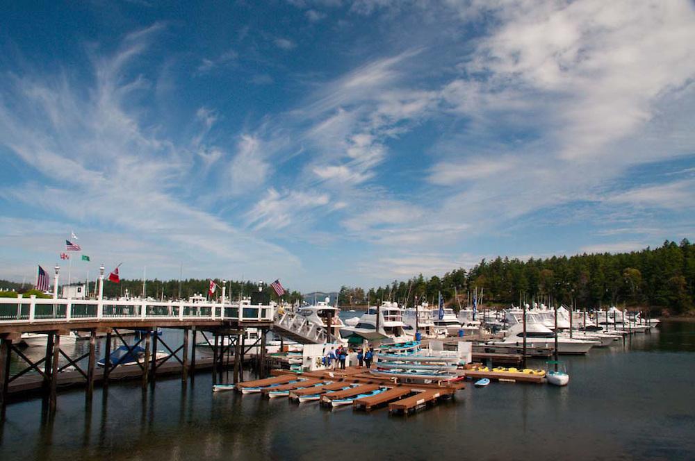 Kayaks and Boats at Roche Harbor Marina, San Juan Island, Washington, US