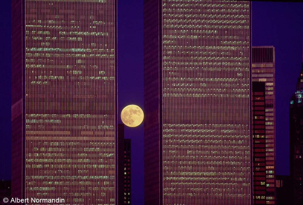 World Trade Center and Moon, New York City, New York, USA, June 1983
