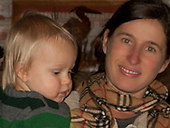 Talus Brubaker Book on a visit to GrandPa Book's home at Nika Trail, Silverdale, WA poses with his Mom, Victoria Book