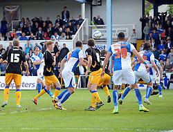 Bristol Rovers' Mark McChrystal hits the post with his effort - Photo mandatory by-line: Joe Meredith/JMP - Mobile: 07966 386802 03/05/2014 - SPORT - FOOTBALL - Bristol - Memorial Stadium - Bristol Rovers v Mansfield - Sky Bet League Two