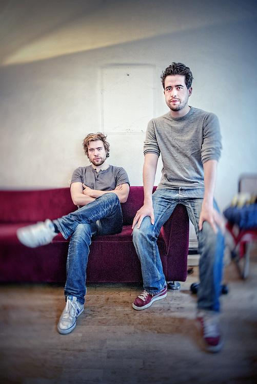 Netherlands. Amsterdam, 06-05-2015. Photo: Patrick Post. Schrijversduo Daan en Thomas Heerma van Voss.
