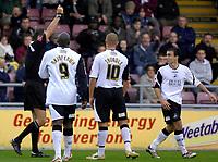 Photo: Daniel Hambury.<br />Northampton Town v Swansea City. Coca Cola League 1. 28/10/2006.<br />Swansea's Leon Britton (far right) is sent off for a second yellow card offence.