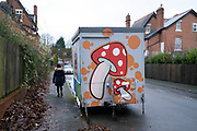 Mushroom graffiti design on the side of a small food kiosk on a residential street ron 7th January 2021 in Birmingham, United Kingdom.