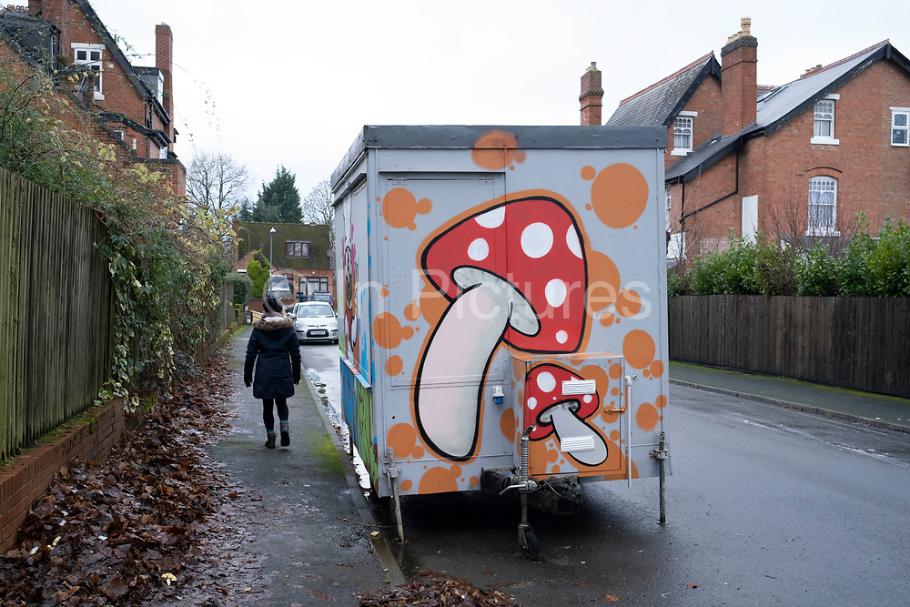 Mushroom graffiti design on the side of a small food kiosk on a residential street ron 7th January 2021 in Birmingham, United Kingdom.