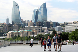 Arsenal fans prior to the UEFA Europa League final at The Olympic Stadium, Baku, Azerbaijan.