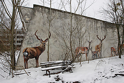 December 22, 2016 - Kiev, Ukraine - A graffiti in the deserted town of Pripyat,two kilometers from the Chernobyl nuclear power plant, Ukraine, on 22 December,2016. The explosion of Unit four of the Chernobyl nuclear power plant on 26 April 1986 is still regarded the biggest accident of nuclear power generation  in the history. (Credit Image: © Serg Glovny via ZUMA Wire)
