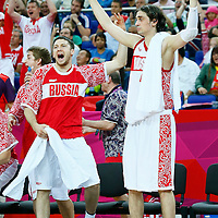 08 August 2012: Russia Alexey Shved celebrates during 83-74 Team Russia victory over Team Lithuania, during the men's basketball quarter-finals, at the 02 Arena, in London, Great Britain.