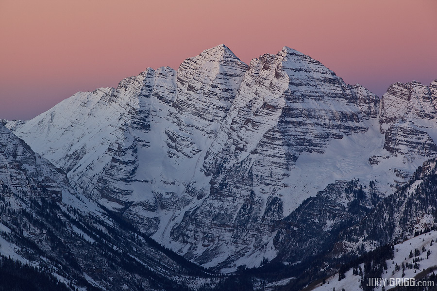 A fresh blanket of snow covers the iconic Maroon Bells just outside of Aspen, Colorado.