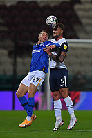 Preston North End's Patrick Bauer battles with Brighton & Hove Albion's Viktor Gyokeres<br /> <br /> Photographer Dave Howarth/CameraSport<br /> <br /> The Carabao Cup Third Round - Preston North End v Brighton and Hove Albion - Wednesday 23rd September 2020 - Deepdale - Preston<br />  <br /> World Copyright © 2020 CameraSport. All rights reserved. 43 Linden Ave. Countesthorpe. Leicester. England. LE8 5PG - Tel: +44 (0) 116 277 4147 - admin@camerasport.com - www.camerasport.com
