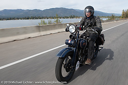 Australian (and Great Race organizer) Dave Reide riding his 1928 Harley-Davidson model J in the Motorcycle Cannonball coast to coast vintage run. Stage 13 (254 miles) Kalispell, MT to Spokane, WA. Friday September 21, 2018. Photography ©2018 Michael Lichter.