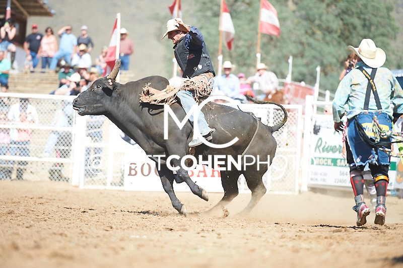 Bull rider D.J. Stoneburner of Reedly, CA rides Ned Kelly at the Woodlake Lions Rodeo.<br /> <br /> <br /> UNEDITED LOW-RES PREVIEW<br /> <br /> <br /> File shown may be an unedited low resolution version used as a proof only. All prints are 100% guaranteed for quality. Sizes 8x10+ come with a version for personal social media. I am currently not selling downloads for commercial/brand use.