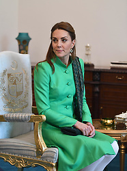 The Duchess of Cambridge during a visit to the Prime Minister of Pakistan Imran Khan at his official residence in Islamabad on the second day of the royal visit.