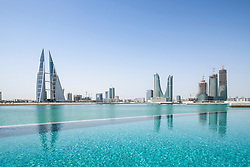 Skyline of Manama city in Bahrain from new Four Seasons luxury Hotel