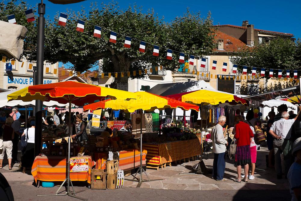 Farmers Market in Place de Republique, Vernet les Bains, Pyrenees Orientales, France