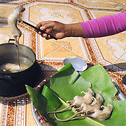 A woman cooks a rat caught in the rice fields around Vinh An, a village specialising in catching rats, Hung Yen province, Vietnam. With Vietnam's growing population making less land available for farmers to work, families unable to sustain themselves are turning to the creation of various products in rural areas.  These 'craft' villages specialise in a single product or activity, anything from palm leaf hats to incense sticks, or from noodle making to snake-catching. Some of these 'craft' villages date back hundreds of years, whilst others are a more recent response to enable rural farmers to earn much needed extra income.