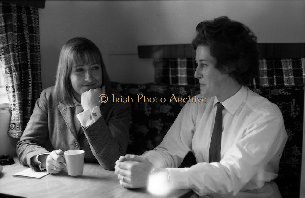 04/05/1965<br /> 05/04/1965<br /> 04 May 1965<br /> Pictures from the RDS Spring show for the Belfast Telegraph. Miss Heather Moore andMiss Patricia McKee having tea in their caravan during an interval between jumping competitions at the show.