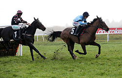 Posh Trish and Harry Cobden (right) clear the last flight before going on to win The Ladbrokes Mares' Novices' Hurdle Race run during Ladbrokes Trophy Day at Newbury Racecourse.