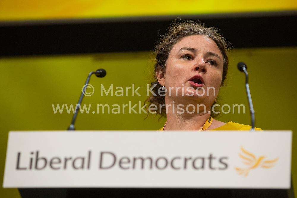 Bournemouth, UK. 15 September, 2019. Rhian O'Connor, Liberal Democrat PPC for Greenwich and Woolwich, speaks on the Stop Brexit motion during the Liberal Democrat Autumn Conference. Following a vote won by an overwhelming majority, the Liberal Democrats pledged to cancel Brexit if they win power at the next general election. This marks a shift in policy from their previous backing for a People's Vote. Credit: Mark Kerrison/Alamy Live News