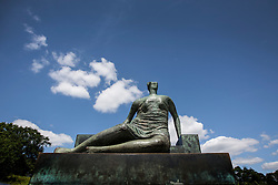 © Licensed to London News Pictures. 09/07/2015. Wakefield, UK. Tower Hamlets council has been declared the legal owner of the Henry Moore sculpture Draped Seated Woman – more popularly known as Old Flo – following a protracted legal dispute. After the high court ruling, John Biggs, mayor of the east London borough, said he was reversing a decision of his disgraced predecessor, Lutfur Rahman, to sell the sculpture. Rahman who was convicted in April of electoral fraud and forced from office. The Old Flo ownership battle was fought by Tower Hamlets against Bromley council, which claimed rights to the sculpture in 2012. Photo credit : Andrew McCaren/LNP