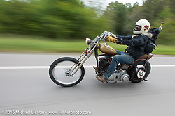 Sean Duggan riding his 1936 Harley-Davidson Knucklehead chopper during Stage 6 of the Motorcycle Cannonball Cross-Country Endurance Run, which on this day ran from Cape Girardeau to Sedalia, MO., USA. Wednesday, September 10, 2014.  Photography ©2014 Michael Lichter.