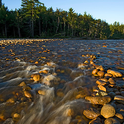 Early morning on the Saco River in Bartlett, New Hampshire. White Mountains.