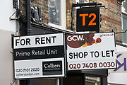 Signs advertising commercial premises available to rent are pictured on the second day of England's second coronavirus lockdown on 6 November 2020 in Windsor, United Kingdom. Many businesses in the town have struggled due to a huge drop in visitor numbers during the COVID-19 pandemic.