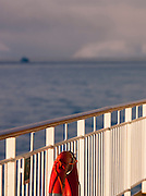 The railings of a large cruise boat at sea in Finnmark region, northern Norway