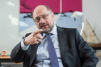 27 FEB 2017, BERLIN/GERMANY:<br /> Martin Schulz, SPD, desig. Parteivorsitzender und Kanzlerkandidat, waehrend einem Interview, in seinem Beuro, Willy-Brandt-Haus<br /> IMAGE: 20170227-01-021