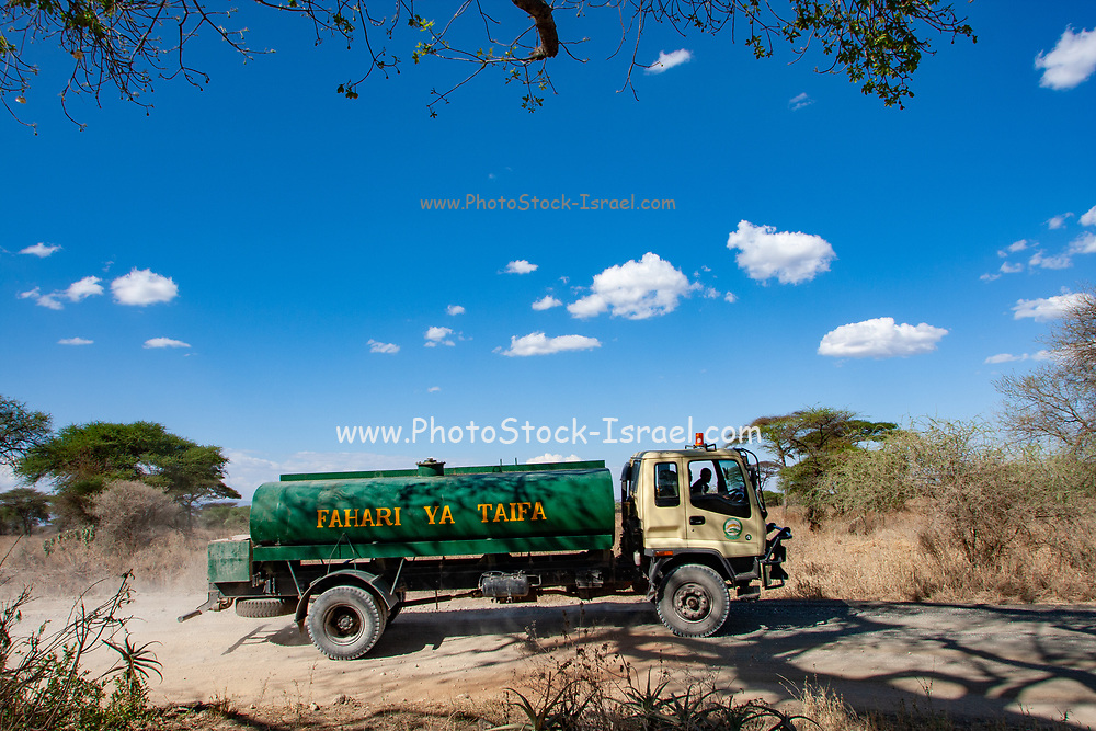 Water tanker brings clean drinkable water to a remote village in Tanzania